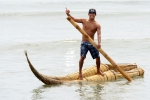 Juninho Urcia riding a Caballito de Totora Boat. Credit: ISA/ Michael Tweddle